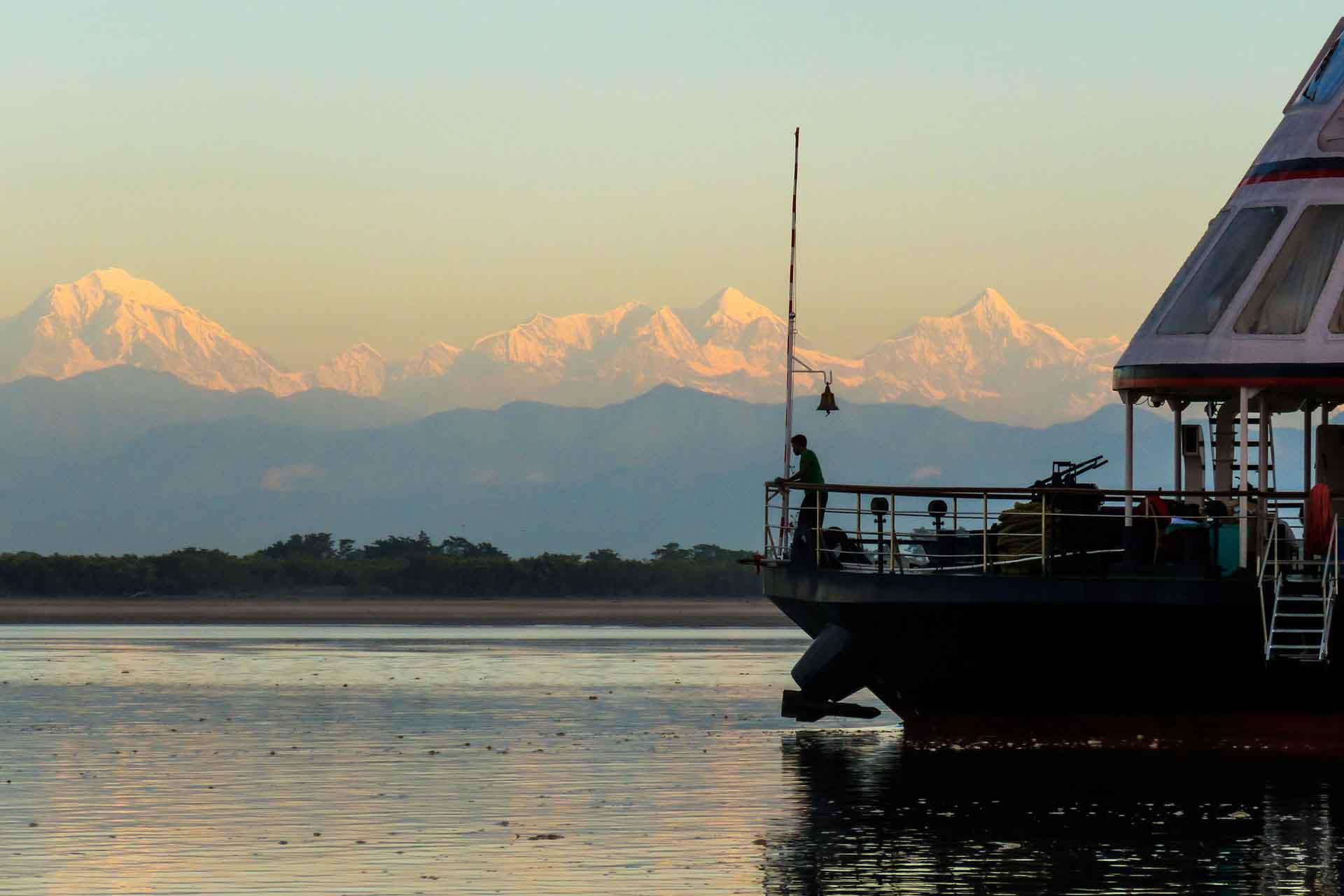Himalayan Range View From MV Mahabaahu Cruise Assam
