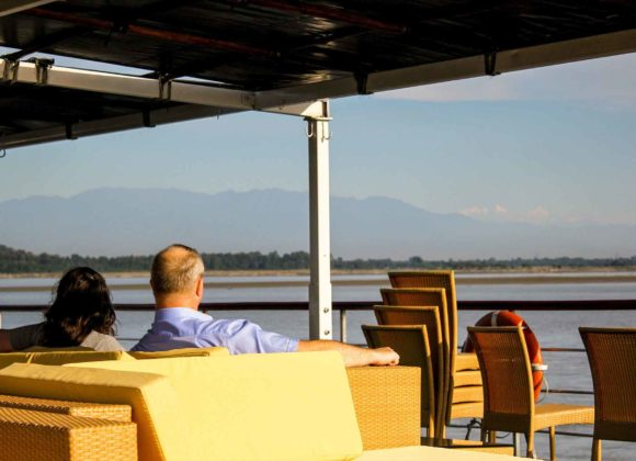 Himalayan Range View From MV Mahabaahu Cruise Assam
