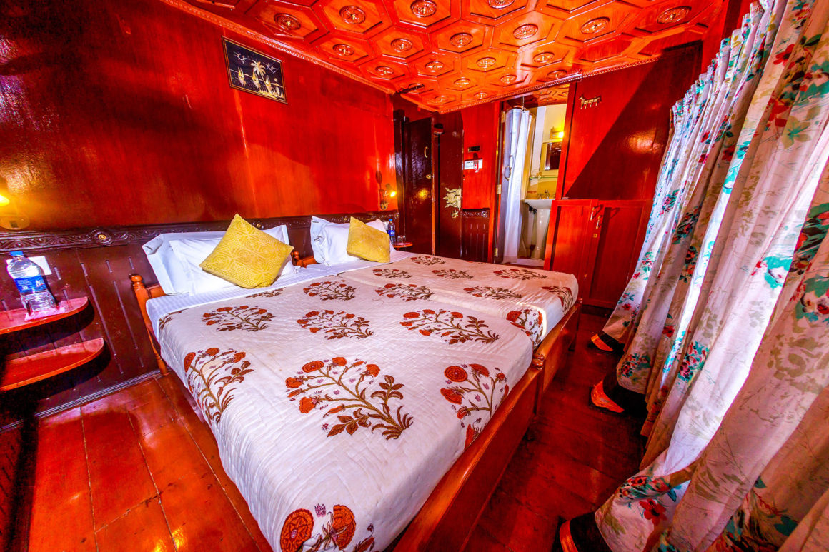 Cabin onboard RV Vaikundam Backwaters River Cruise