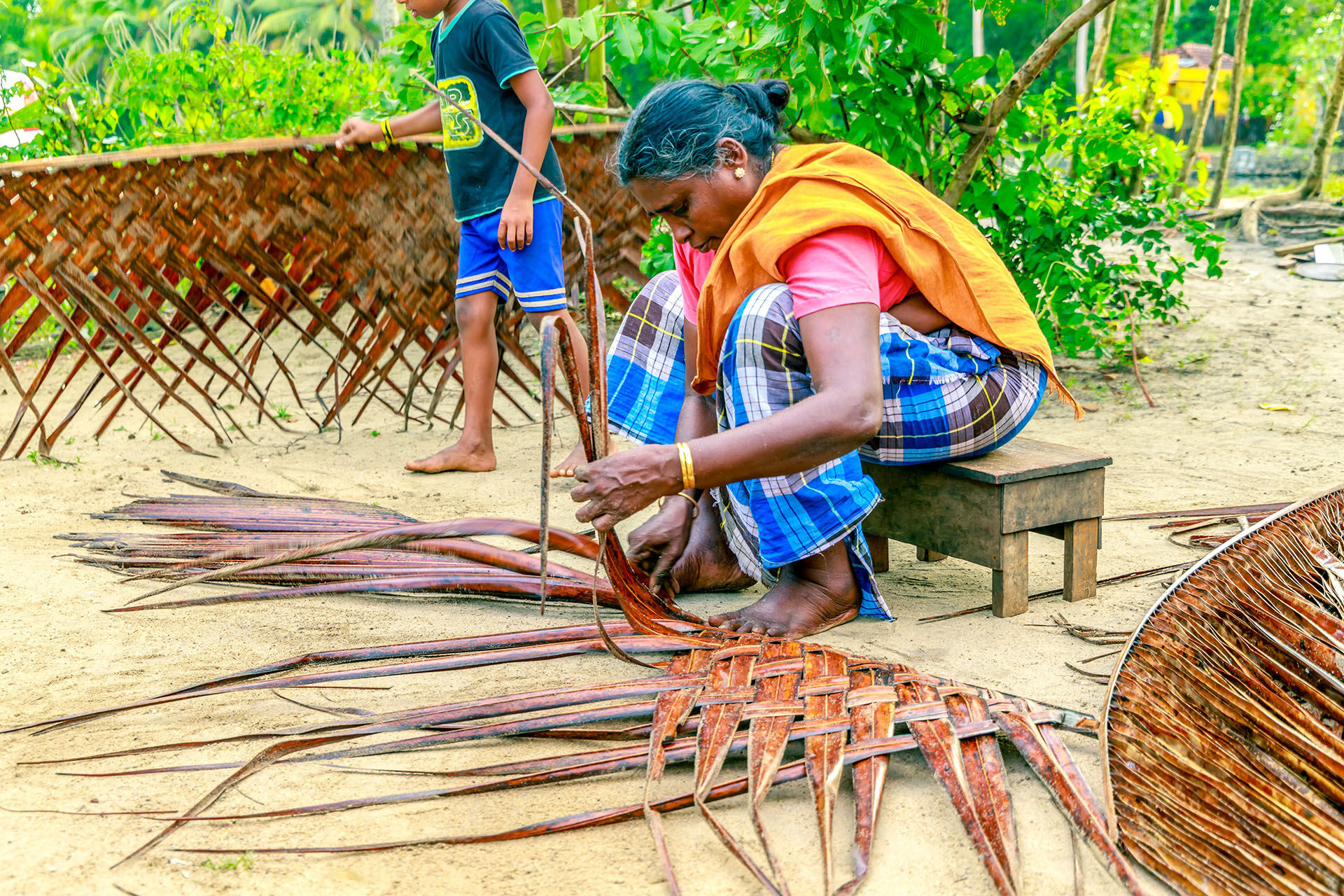 Coconut Palm frond Weaving Kerala