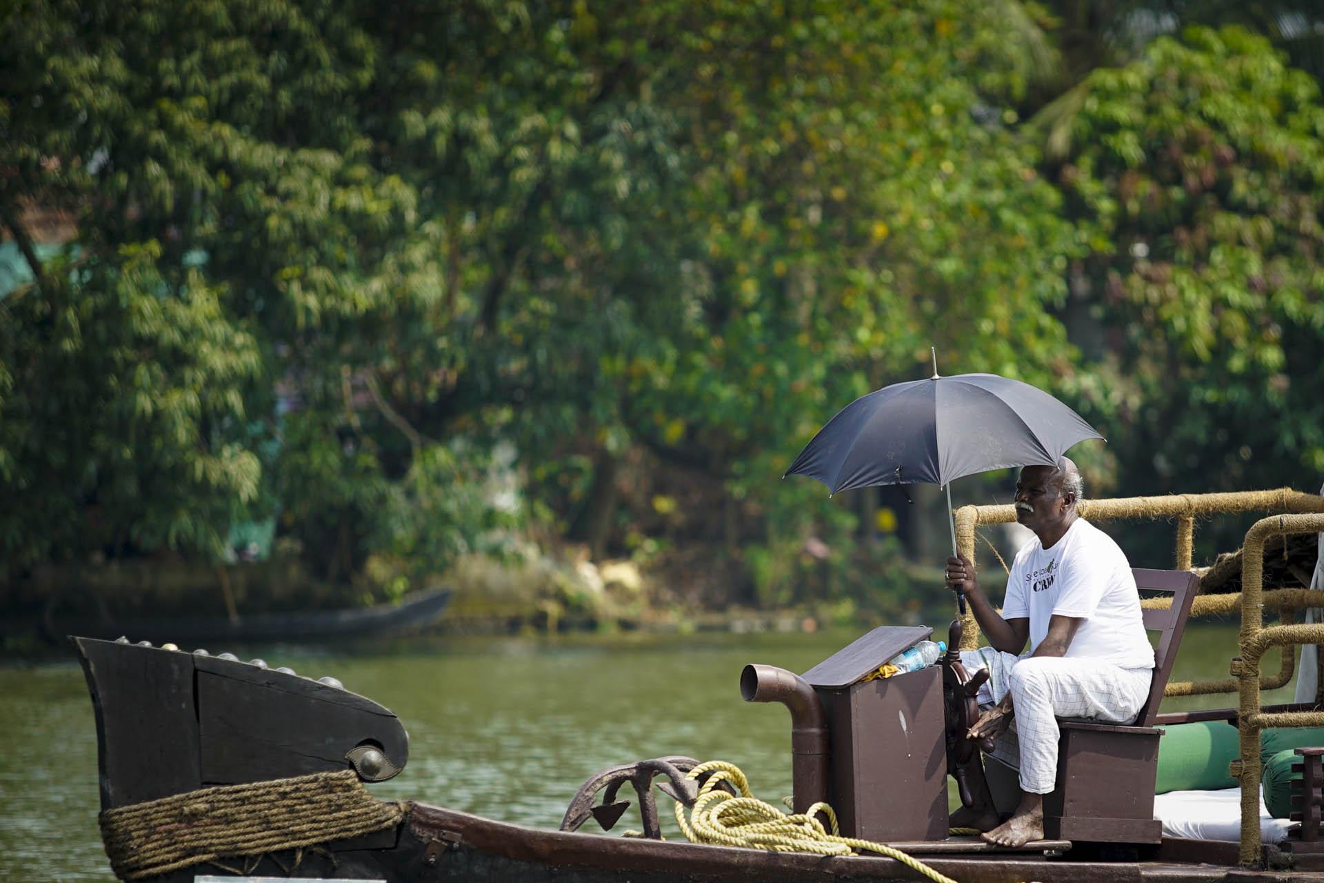 Boat Driver onboard RV Vaikundam Backwaters, Kerala
